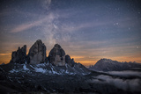 The Milky Way with its Stars Appear in a Summer Night on the Three Peaks of Lavaredo Dolomites
