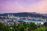 Elevated View over Old Town Passau and the River Danube Illuminated at Dawn  Passau  Lower Bavaria