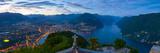 Elevated View over Lugano from Monte San Salvatore Illuminated at Dusk  Lake Lugano  Ticino