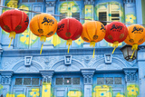 Chinese Lanterns and Colourful Old Building  Singapore