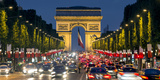 View Down the Champs Elysees to the Arc De Triomphe  Illuminated at Dusk  Paris  France