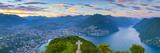 Elevated View over Lugano from Monte San Salvatore Illuminated at Sunset  Lake Lugano  Ticino