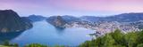 Elevated View over Lugano from Monte Bre Illuminated at Sunrise  Lugano  Lake Lugano