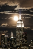 Manhattan  Moonrise over the Empire State Building