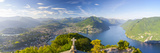 Elevated View over Lugano from Monte San Salvatore  Lake Lugano  Ticino  Switzerland
