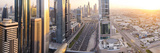 Elevated View over Downtown and Sheikh Zayed Road Looking Towards the Burj Kalifa  Dubai