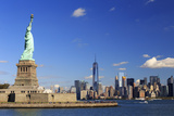 Usa  New York  New York City  Statue of Liberty and Lower Manhattan Skyline