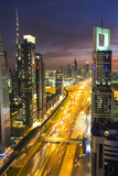 Downtown and Sheikh Zayed Road Looking Towards the Burj Kalifa  Dubai  United Arab Emirates