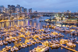 View over Harbour and Granville Island with City Skyline at Dusk  Vancouver  British Colombia