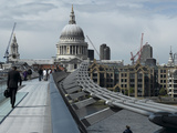 Millenium Bridge  Southbank  Southwark  and the Dome of St Pauls Cathedral