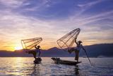 Myanmar (Burma)  Shan State  Inle Lake  Local Fishermen at Sunset