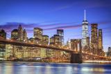 Usa  New York  New York City  Lower Manhattan and Brooklyn Bridge