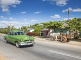 50s American Car Passing Ox and Cart  Pinar Del Rio Province  Cuba