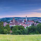 Elevated View over Donauworth Old Town Illuminated at Sunset  Donauworth  Swabia  Bavaria  Germany