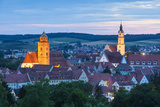 Elevated View over Donauworth Old Town Illuminated at Dusk  Donauworth  Swabia  Bavaria  Germany