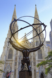Usa  New York  New York City  Manhattan  Rockefeller Center  Atlas Statue and St Patricks Cathedral