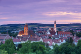 Elevated View over Donauworth Old Town Illuminated at Sunset  Donauworth  Swabia  Bavaria  Germany