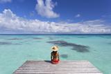 Woman Sitting on Jetty  Fakarava  Tuamotu Islands  French Polynesia (Mr)