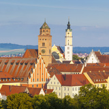Elevated View over Old Town Church Spires  Donauworth  Swabia  Bavaria  Germany