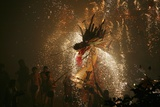 Dragon dance with fireworks during Spring Festival  Hong Kong  China