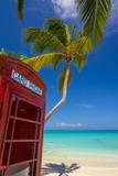 Caribbean  Antigua  Dickinson Bay  Dickinson Bay Beach  Red British Telephone Box