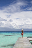 Woman Walking on Jetty  Fakarava  Tuamotu Islands  French Polynesia (Mr)
