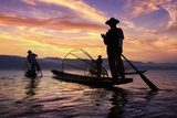 Myanmar (Burma)  Shan State  Inle Lake  Local Fishermen at Sunset