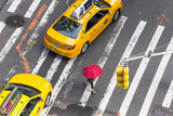 Yellow Taxi Cabs and Crossing  Overhead View  New York  Manhattan  New York  USA