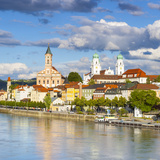 Elevated View Towards the Picturesque City of Passau  Passau  Lower Bavaria  Bavaria  Germany