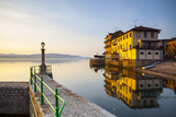 Arona's Picturesque Lake-Front Illuminated at Sunrise  Arona  Lake Maggiore  Piedmont  Italy