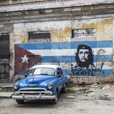 Classic American Car and Cuban Flag  Habana Vieja  Havana  Cuba