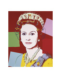 Reigning Queens: Queen Elizabeth II of the United Kingdom, 1985 (dark outline) Reproduction d'art par Andy Warhol
