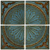 Blue Quarter Medallion Wall Panel Set