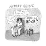 """TITLE: Midday Crisis A woman sitting  thinking  """"I'm sick of this chair!"""" - New Yorker Cartoon"""