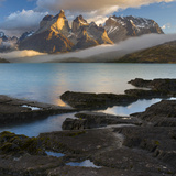 Morning Clouds over the Peaks of the Cuernos Del Paine and Lake Pehoe