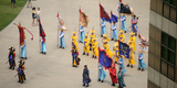 Elevated View of a Procession in Traditional Garb at Seoul Plaza  Seoul City Hall  Seoul