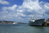 Ditsant Ferry Passing Cobh  and the Irish Naval Frigate