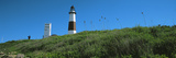 Low Angle View of Lighthouse  Montauk Point  Montauk  Suffolk County  New York State  Usa