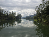 Castlereigh Reservoir Seen from Road Along Top of Dam at Hazy Morning  Nuwara Eliya