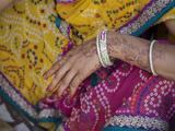 Woman with Henna Tattoo on Her Hand at Hare Krishna Temple  Juhu  Mumbai  Maharashtra  India