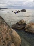 Man Jumping Off Flag Rock Bastion  Galle Fort  Galle  Southern Province  Sri Lanka