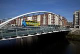 The Contemporary James Joyce Bridge - with a Dublin Bus  Dublin City  Ireland