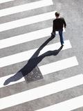 Pedestrain Crossing the Street on Zebra Crossing