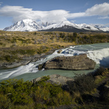Cascading Stream with Mountain Peak in the Background  Torres Del Paine National Park  Chile