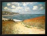 Chemin dans les blés à Pourville Reproduction laminée et encadrée par Claude Monet