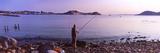 Man Fishing at the Coast  Portoferraio  Island of Elba  Tuscany  Italy