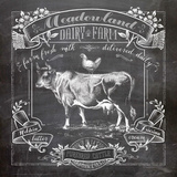Chalkboard Cow Reproduction d'art par Washburn Lynnea