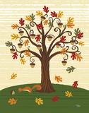 Grand Tree & Squirrel Reproduction d'art par Teresa Woo