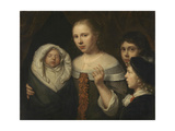 Portrait of a Young Woman with Three Children