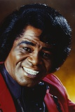 James Brown Portrait in Red Linen Suit and Black Collar Shirt